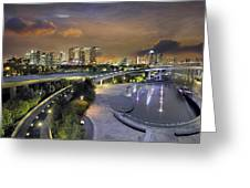 Sunset At Marina Barrage Greeting Card