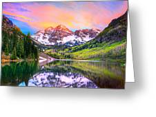 Sunset At Maroon Bells And Maroon Lake Aspen Co Greeting Card by James O Thompson
