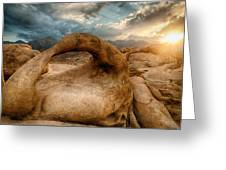 Sunset At Mobius Arch Greeting Card