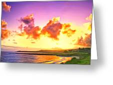 Sunset At Oneloa Beach Maui Greeting Card