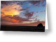 Sunset At Pacific City Greeting Card