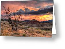 Sunset At Painted Hills In Oregon Greeting Card