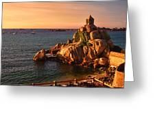 Sunset At Port Blanc - Cote De Granit Rose Greeting Card