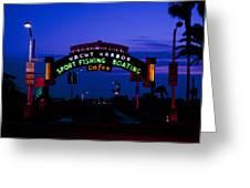 Sunset At Santa Monica Beach Pier Fine Art Photography Print Greeting Card