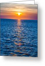 Sunset At Sea With Multiple Color Prizm Greeting Card