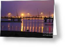 Sunset At Southampton Docks Greeting Card