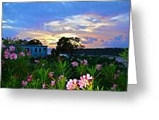 Sunset At Tasty's In Anguilla Greeting Card