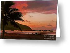 Sunset At The Beach - Puerto Lopez - Ecuador Greeting Card