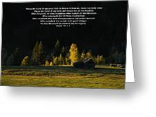 Sunset At The Cabin With Scripture Greeting Card