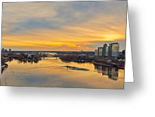 Sunset At The City By The River Greeting Card