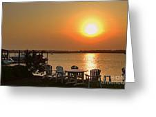 Sunset At The Docks Greeting Card