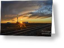 Sunset At The Edge Of Oil Rigs Greeting Card