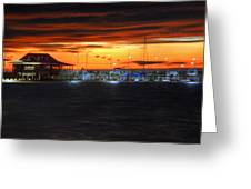 Sunset At The Fairhope Pier Greeting Card