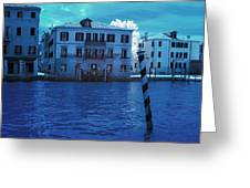 Sunset At The Hotel Canal Grande Venice Italy Near Infrared Blue Greeting Card