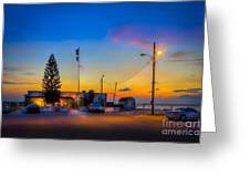 Sunset At The Post Greeting Card