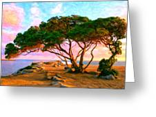 Sunset At The Wedge In Newport Beach Greeting Card