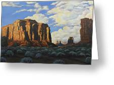 Sunset At The Window Monument Valley Greeting Card