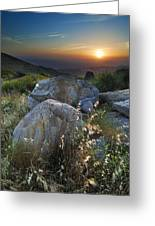 Sunset At The Windy Mountains Greeting Card