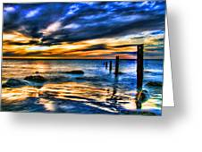Sunset At Washed Out Pier Greeting Card