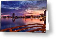 Sunset Balcony Of The West Palm Beach Skyline Greeting Card