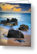 Sunset Beach Rocks Greeting Card by Inge Johnsson
