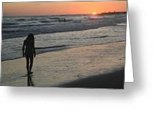 Sunset Beach Silhouette Greeting Card
