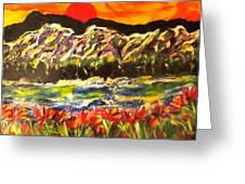 Sunset Behind Dark Hills Greeting Card