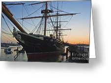 Sunset Behind Hms Warrior Greeting Card