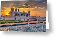 Sunset Behind The Mandir Greeting Card
