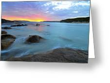 Sunset Blue Greeting Card by Sally Nevin