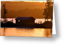 Sunset Boat House Greeting Card