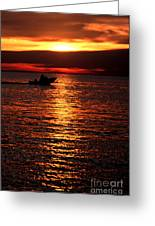 Sunset Boaters Greeting Card