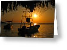 Sunset Boats Greeting Card