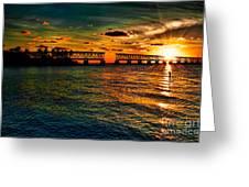 Sunset Bridge Greeting Card