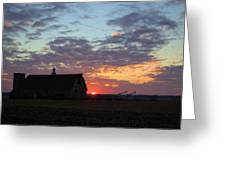 Sunset By The Barn Greeting Card
