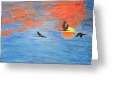 Sunset Cranes Greeting Card