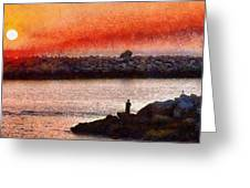 Sunset Dinner Greeting Card by Cary Shapiro