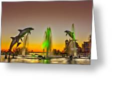 Sunset Dolphins Greeting Card