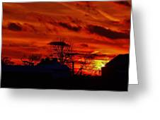 Sunset Down On The Farm Greeting Card