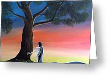 Sunset Fairy By Shawna Erback Greeting Card