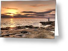 Sunset Fisherman Greeting Card