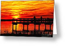 Sunset Fishing At The Pier Greeting Card