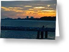 Sunset Fishing Greeting Card