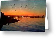 Sunset From Quincy Ma Greeting Card