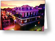 Sunset From The Balcony In The French Quarter Of New Orleans Greeting Card