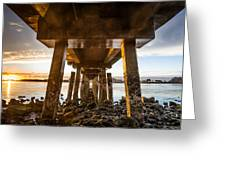Sunset From Under The Pier Greeting Card