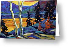 Sunset Geo Landscape Original Oil Painting By Prankearts Greeting Card