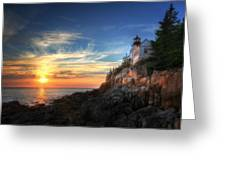 Sunset Glow At Bass Harbor Greeting Card