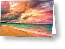 Sunset Glow At Waimanalo Greeting Card