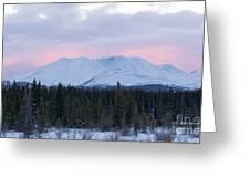 Sunset Glow Behind Winterly Little Peak Yt Canada Greeting Card
